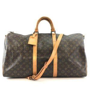 Louis Vuitton Keepall #43858 with Strap 55 Bandouliere Gym Tote Brown Monogram